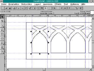 Technische Zeichnung einer Holzgalerie