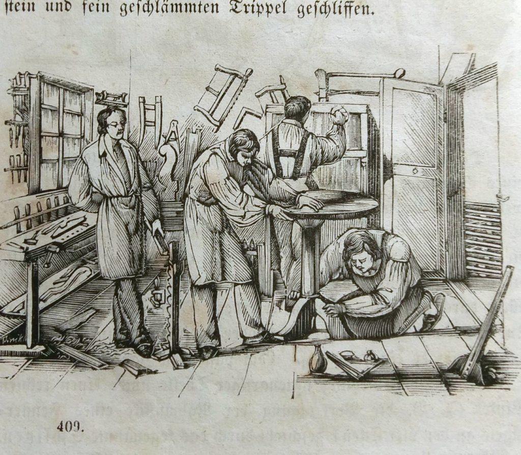Kupferstich einer Tischlerwerkstatt